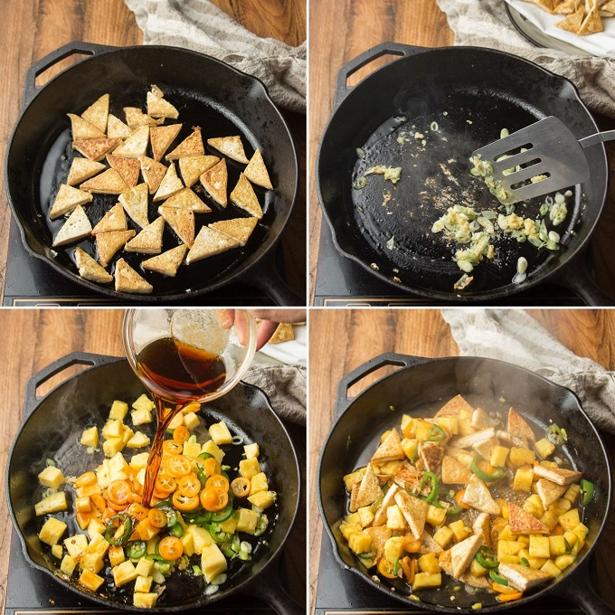 Collage Showing Steps for Making Spicy Tofu & Pineapple Stir-Fry: Pan-Fry Tofu, Cook Aromatics, Add Pineapple, Jalapeno's and Sauce, and Add Tofu