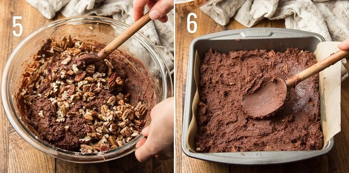 Collage Showing Steps 5 and 6 for Making Vegan Brownies: Stir in Nuts and Spread Batter in Baking Pan