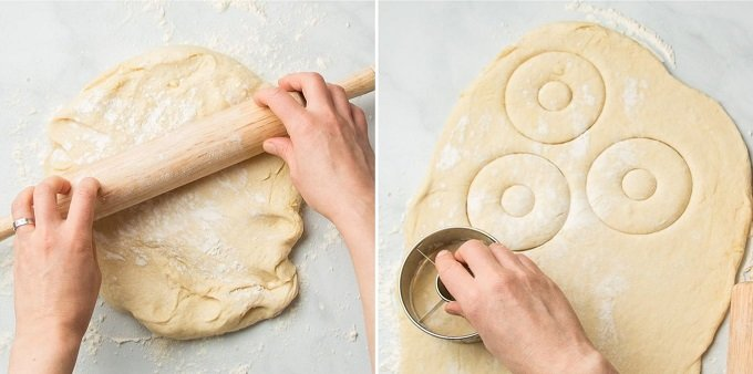 Side By Side Images Showing: Hands Rolling Vegan Doughnut Dough, and Cutting Doughnuts From Dough