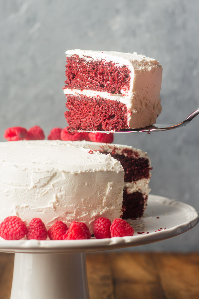 Cake Server Removing a Slice of Slice of Vegan Red Velvet Cake from Plate