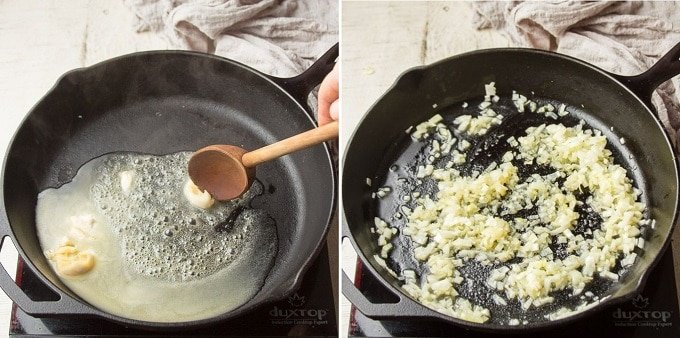 Collage Showing Steps 1 and 2 for Making Aloo Palak: Melt Butter in Skillet and Add Onion