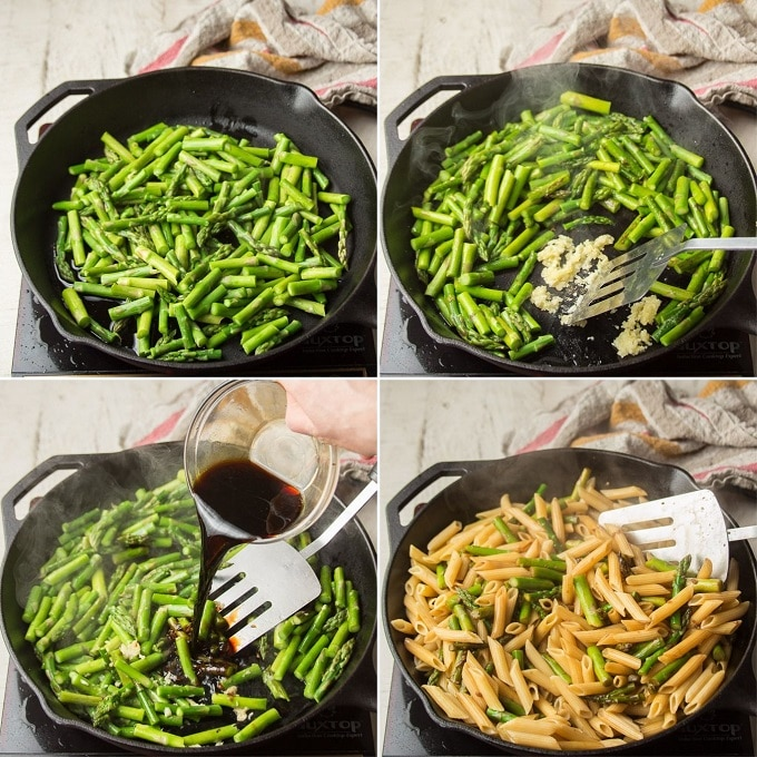 Collage Showing Steps 1-4 for Making Asparagus Pasta: Sear Asparagus, Add Garlic, Add Balsamic, and Add Pasta