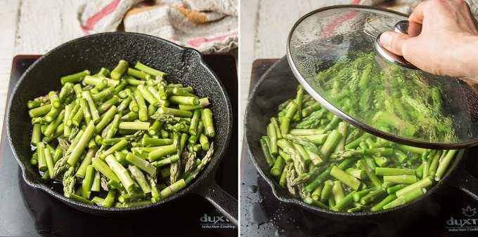 Collage Showing Steps for Steaming Asparagus: Heat Asparagus and Water in a Skillet and Cover