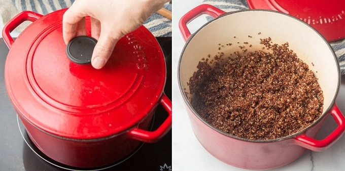 Collage Showing Steps 3 and 4 for Cooking Quinoa: Simmer Covered, and Remove Lid
