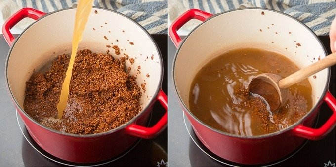 Collage Showing First Two Steps for Cooking Quinoa: Add Liquid and Bring to Simmer