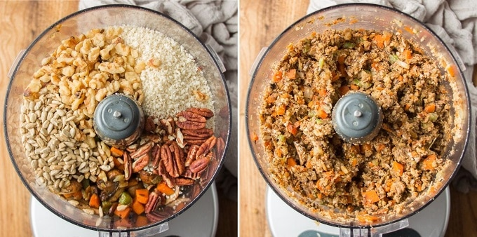 Side By Side Images Showing Vegan Nut Roast Filling in a Food Processor Bowl Before and After Blending