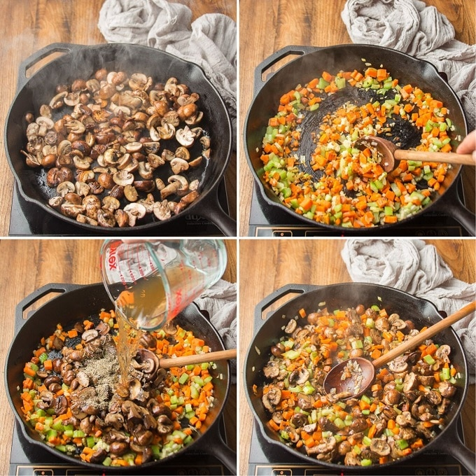 Collage Showing Steps 1-4 for Making Nut Roast: Cook Mushrooms, Cook Veggies, Add Sherry, and Simmer to Reduce
