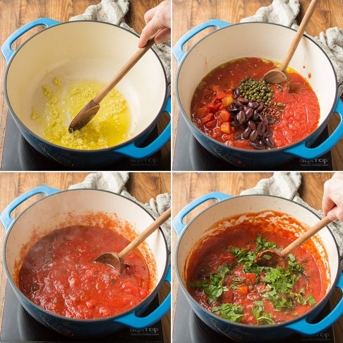 Collage Showing Steps for Making Pasta Puttanesca: Cook Garlic in Olive Oil, Add Tomatoes, Capers and Olives, Simmer, and Add Basil