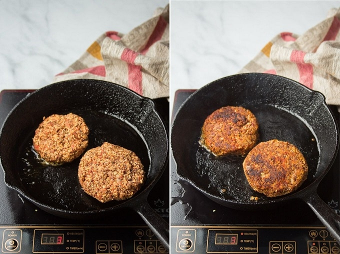 Side By Side Photos Showing Two Stages of Cooking Quinoa Burgers in a Skillet