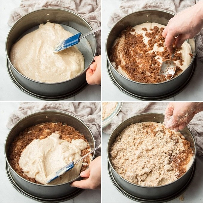 Collage Showing Stages of Assembling a Vegan Coffee Cake: Spread Batter in Pan, Sprinkle with Filling, Top with More Batter, Then Top with More Filling and Streusel