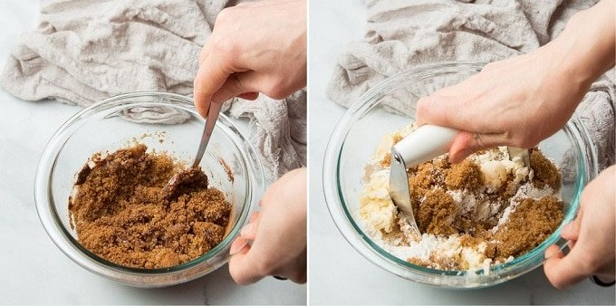 Side By Side Images Showing Hands Mixing Filling and Streusel for Vegan Coffee Cake