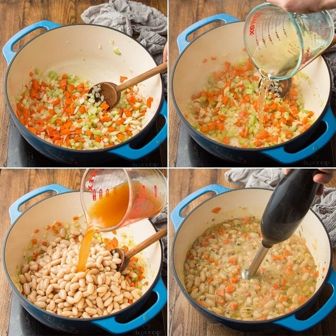 Collage Showing Steps for Making Rosemary White Bean Soup: Sweat Veggies, Add Wine, Add Broth, and Blend