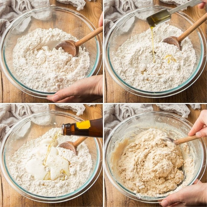 Collage Showing Steps for Making Beer Bread Batter: Mix Dry Ingredients, Add Wet Ingredients, and Stir