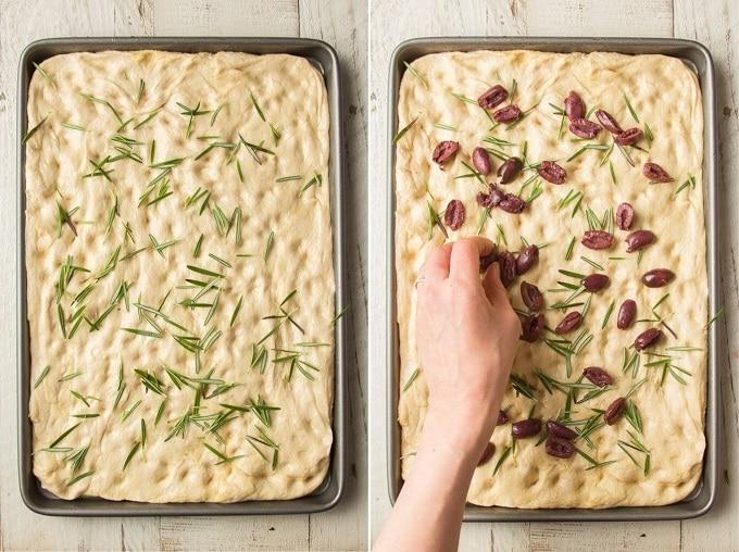 Side By Side Images Showing Hands Placing Rosemary then Kalamata Olives on Focaccia Dough