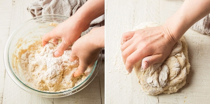 Side By Side Images Showing Hands Mixing Focaccia Dough in a Bowl, then Kneading the Dough on a Wooden Surface