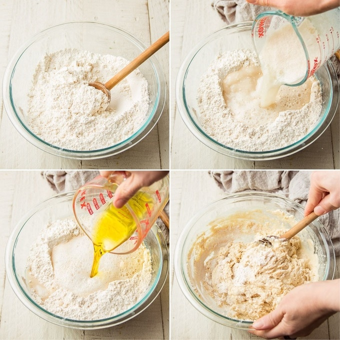 Collage Showing Steps for Making Focaccia Dough: Mix Dry Ingredients, Add Yeast Mixture to Dry, Add Olive Oil To Dry, and Stir