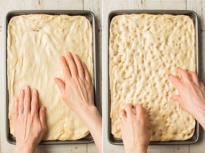 Side By Side Images Showing Two Stages of Shaping Dough for Olive Rosemary Focaccia