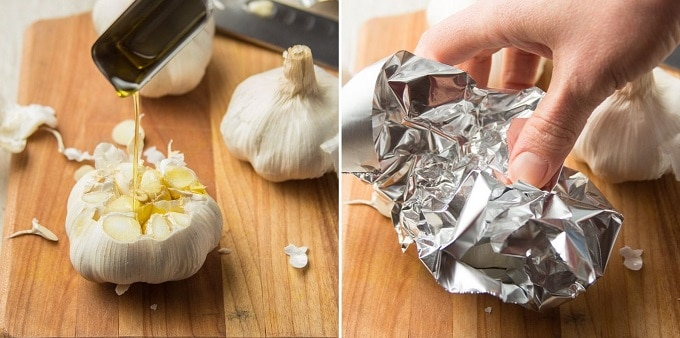 Two Images Showing: (1) Spoon Drizzling Olive Oil Over Raw Garlic Bulb, and (2) Hand Wrapping the Bulb in Foil