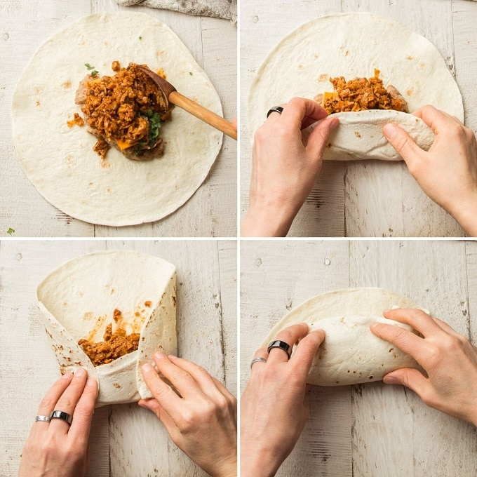 Collage Showings Steps for Wrapping a Burrito