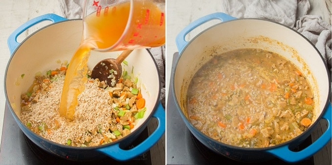 Two Images Showing Steps 3 and 4 for Making Vegan Chicken & Rice Soup: Add Rice and Broth, and Simmer