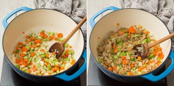 Two Images Showing Steps 1 and 2 for Making Vegan Chicken & Rice Soup: Sweat Veggies and Cook Seitan