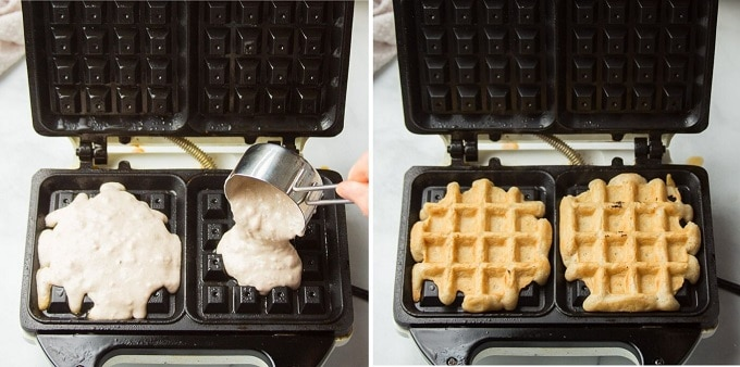 Side By Side Images Showing: Batter Being Poured into Waffle Iron, and Cooked Vegan Waffle in a Waffle Iron
