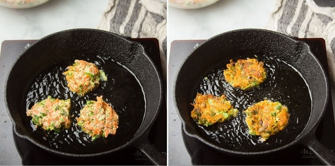 Two Images Showing Stages of Cooking Vegetable Fritters