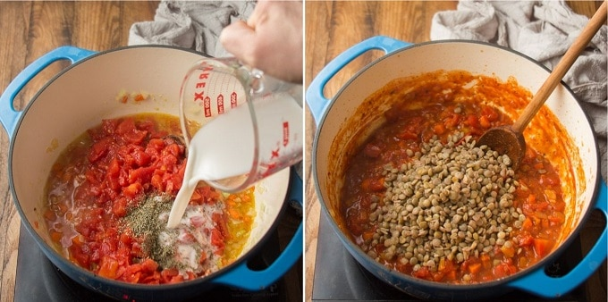 Collage Showing Steps 3 and 4 for Making Lentil Bolognese: Add Tomatoes, Milk, and Spices, and Add Lentils