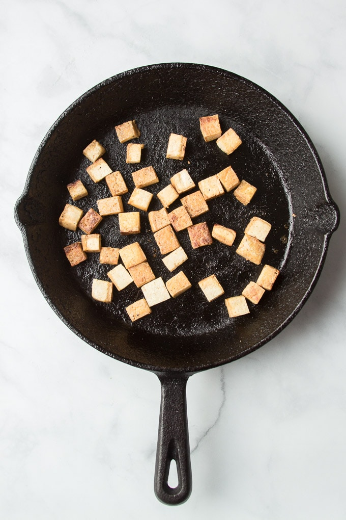 Browned Tofu Cubes in a Skillet