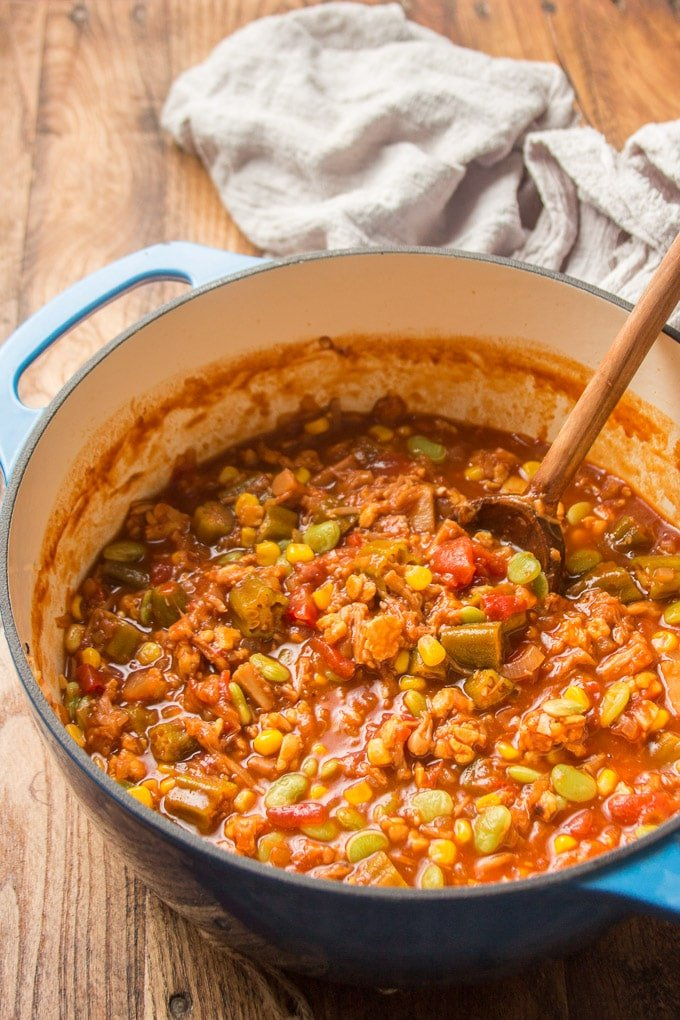 Pot of Vegan Brunswick Stew with Wooden Spoon