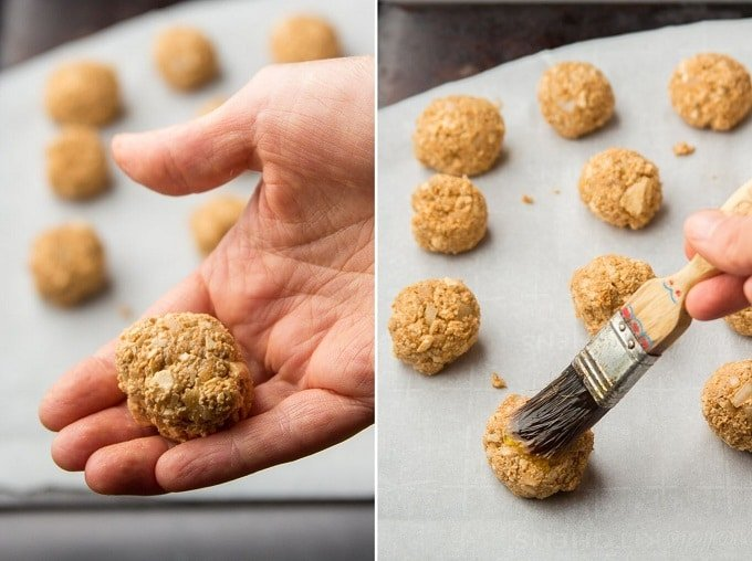 Side By Side Images Showing: Hand Rolling a Vegan Meatball, and Brush Spreading Oil on a Vegan Metaball