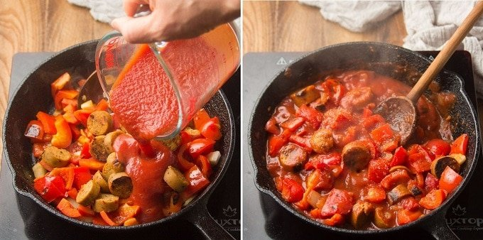 Collage Showing Steps 3 and 4 for Making Vegan Sausage & Pepper Ragù: Add Tomato Sauce and Simmer