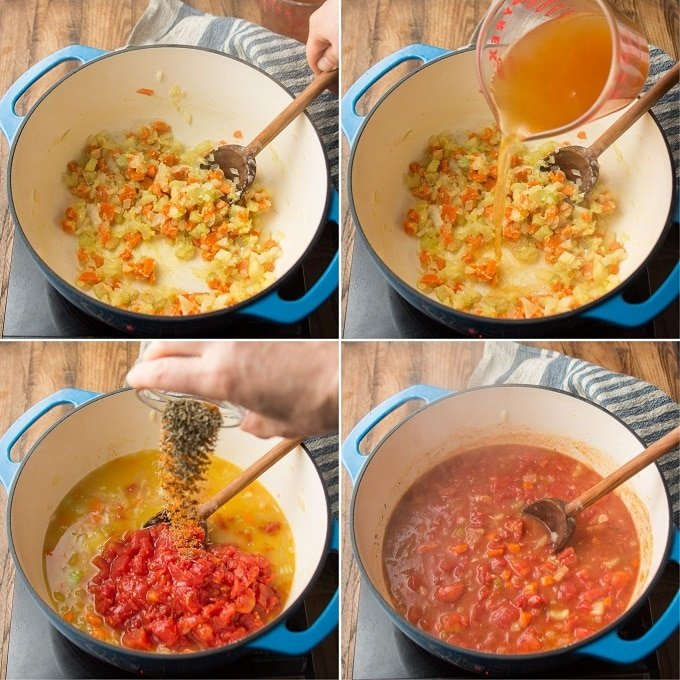 Collage Showing Steps 3-6 for Making Vegan Tomato Bisque: Add Flour, Add Broth, Add Tomatoes and Spices, and Simmer