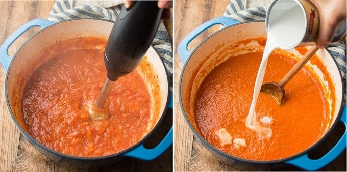 Collage Showing Final Two Steps for Making Vegan Tomato Bisque: Blend and Add Coconut Milk