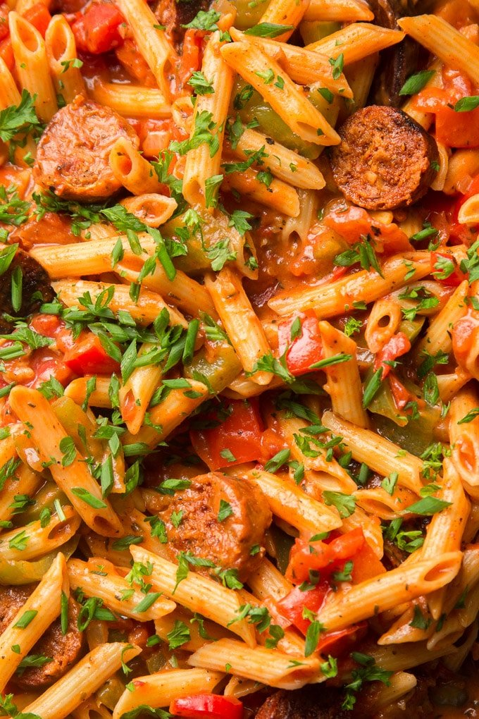 Close Up of Vegan Cajun Pasta Topped with Chives