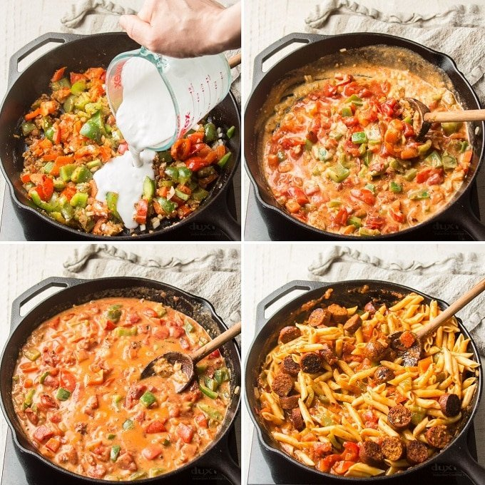 Collage Showing Steps 5-8 for Making Vegan Cajun Pasta: Add Coconut Milk, Add Tomatoes, Simmer, and Add Pasta and Sausage