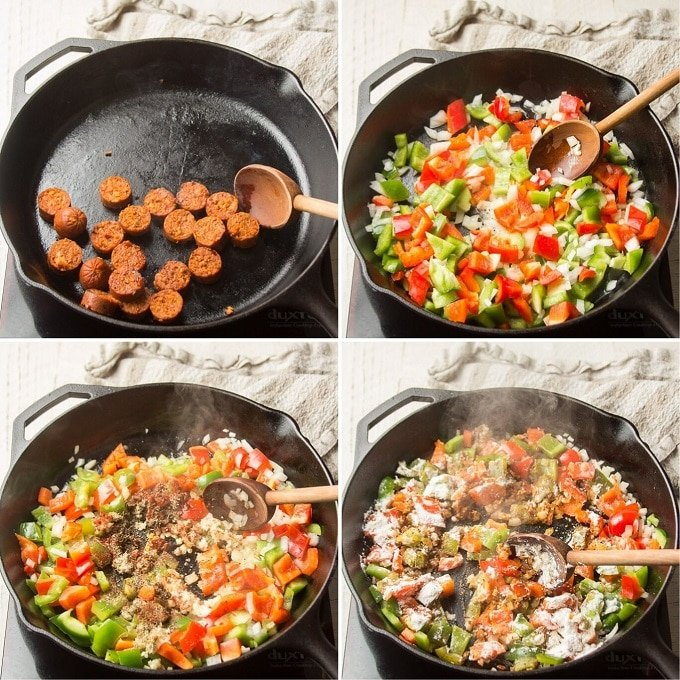 Collage Showing Steps 1-4 for Making Vegan Cajun Pasta: Brown Sausage, Sweat Veggies, Add Spices, and Add Flour
