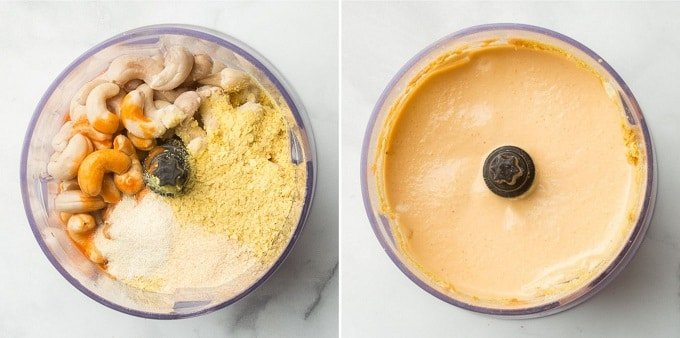Side By Side Images Showing Cashew Queso Ingredients in a Food Processor Bowl Before and After Blending