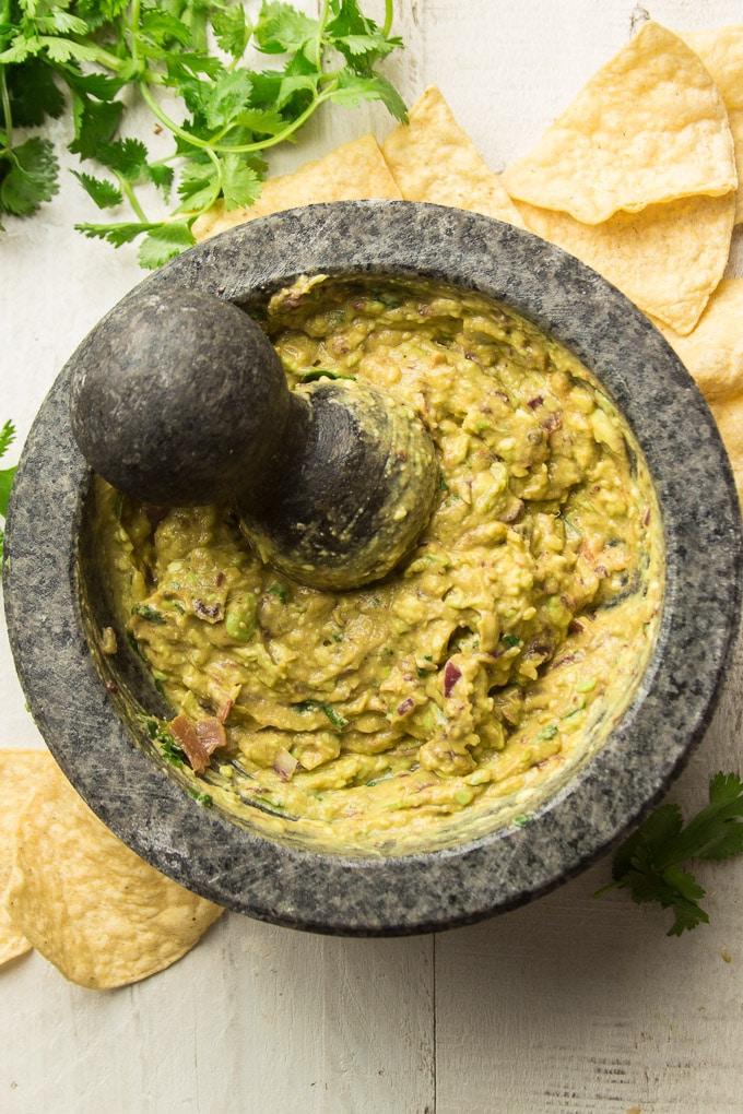 Chipotle Guacamole in a Molcajete