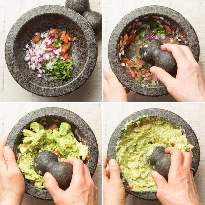 Collage Showing Steps for Making Guacamole in a Molcajete: Add Onions, Tomatoes, Cilantro and Pepper, Grind Ingredients, Add Avocado, and Mash