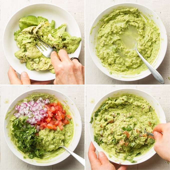 Collage Showing Steps for Making Guacamole with a Fork: Mash Avocado with Fork, Add Lime Juice, Add Onion, Tomato, Cilantro, and Pepper, and Stir