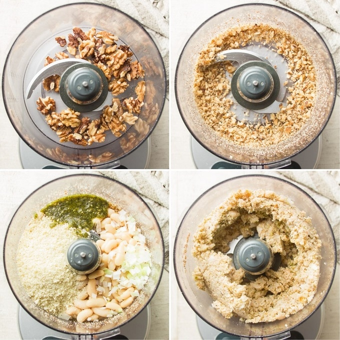 Collage Showing 4 Steps for Blending Pesto White Bean Burger Ingredients: Add Walnuts to Food Processor, Chop Nuts, Add Beans, Breadcrumbs, and Seasonings, and Blend