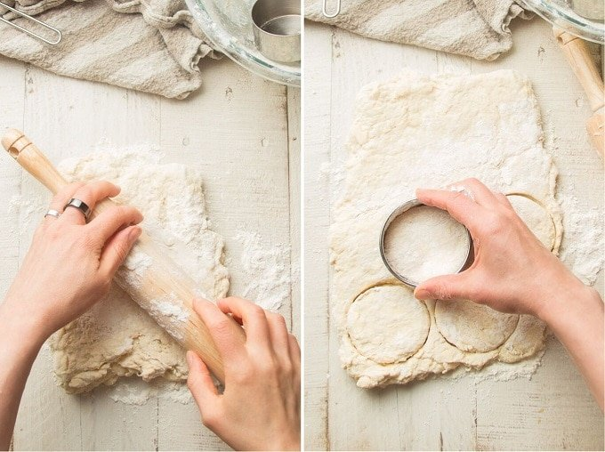 Collage Showing Hands Rolling and Cutting Vegan Biscuit Dough