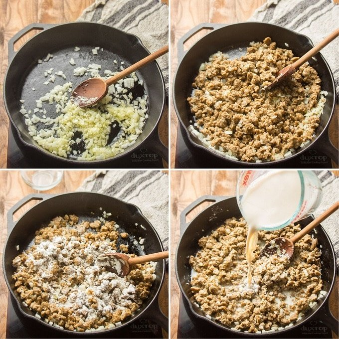 Collage Showing Steps 1-4 for Making Vegan Hamburger Helper: Sweat Onions, Add Seitan, Add Flour, and Add Soy Milk
