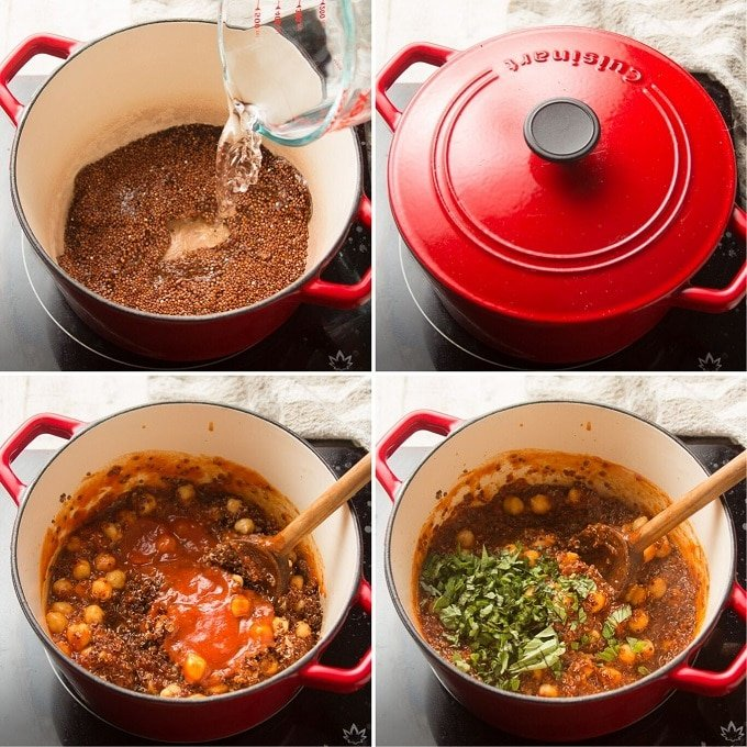 Collage Showing Steps for Making Vegan Stuffed Zucchini Filling: Mix Quinoa and Water, Simmer with the Lid on, Stir in Sauce and Chickpeas, and Stir in Basil