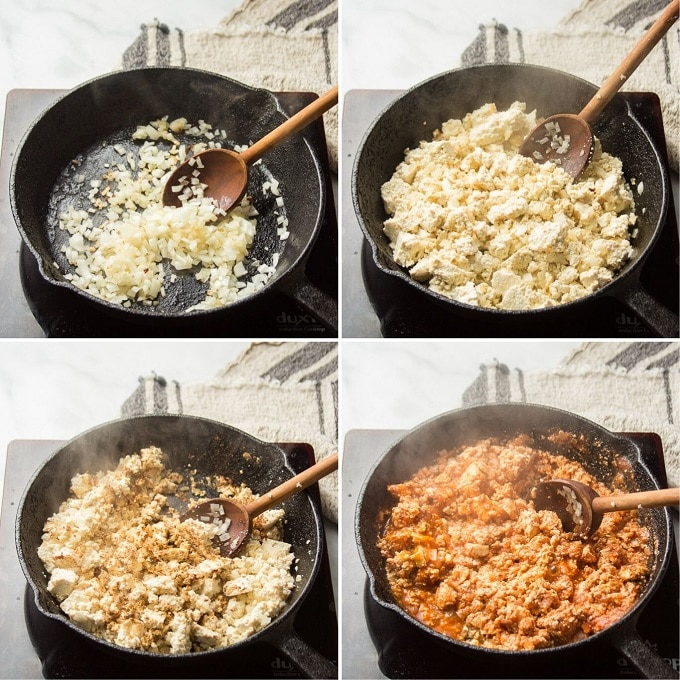 Collage Showing Steps for Making Tofu Taco Crumbles: Cook Onion, Crumble in Tofu, Add Spices, and Simmer with Tomato Sauce