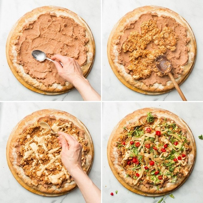 Collage Showing Steps for Assembling Vegan Taco Pizza: Spread Refried Beans on Crust, Top with Tofu Crumbles, Drizzle with Cashew Queso, and Sprinkle with Lettuce, Tomato and Olives
