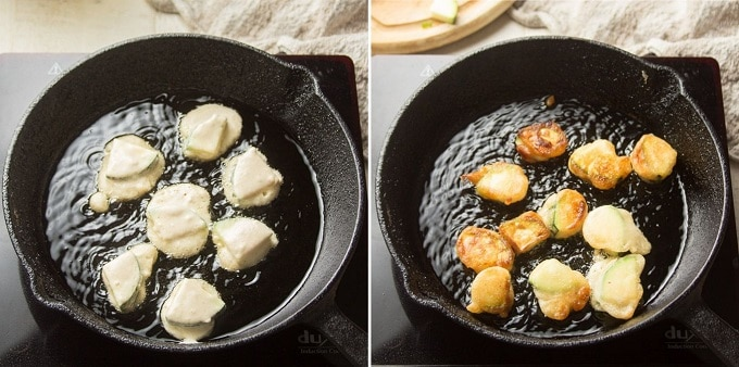 Side-By-Side Images Showing Two Stages of Zucchini Frying in a Skillet