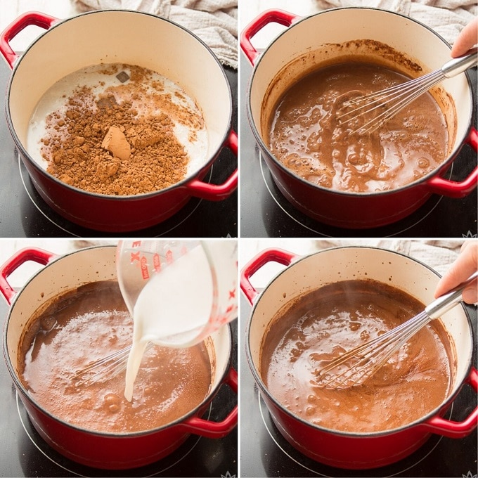 Collage Showing Four Stages of Cooking Base Mixture to Make Vegan Fudgesicles