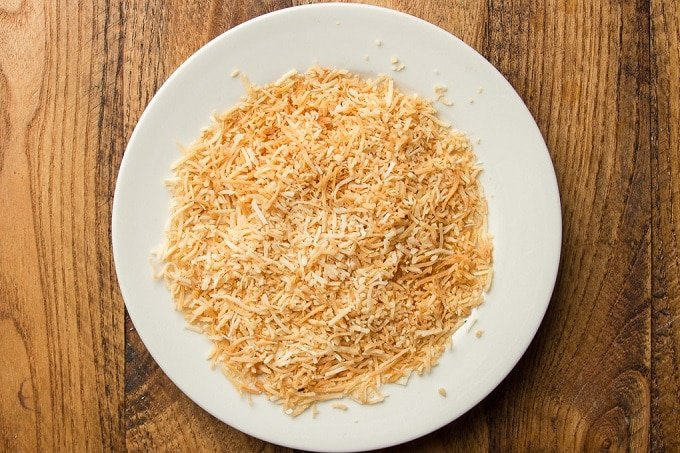 Toasted Coconut on a White Plate